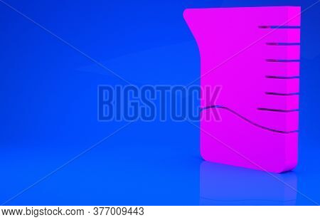 Pink Measuring Cup Icon Isolated On Blue Background. Plastic Graduated Beaker With Handle. Minimalis