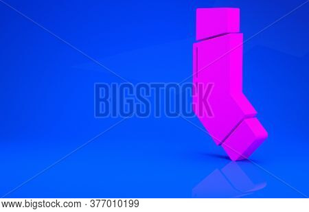 Pink Inhaler Icon Isolated On Blue Background. Breather For Cough Relief, Inhalation, Allergic Patie