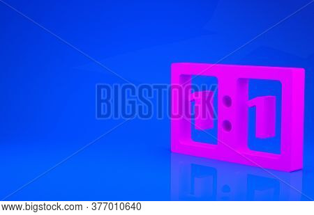 Pink Sport Mechanical Scoreboard And Result Display Icon Isolated On Blue Background. Minimalism Con
