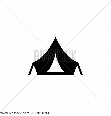 Tourist Tent, Adventure Hiking Equipment. Flat Vector Icon Illustration. Simple Black Symbol On Whit