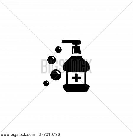 Hand Sanitizer, Antibacterial Liquid Disinfector. Flat Vector Icon Illustration. Simple Black Symbol