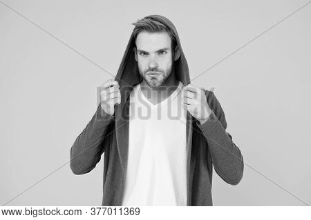 Stretch Material. Handsome Guy Wear Fashionable Mantle With Hood. Casual Menswear. Fashion Trends. M