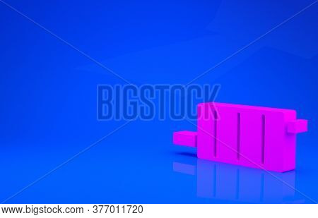 Pink Car Muffler Icon Isolated On Blue Background. Exhaust Pipe. Minimalism Concept. 3d Illustration
