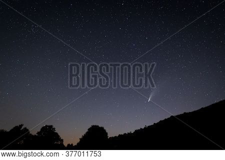 Starry Night Landscape With Comet Neowise. Extremadura.