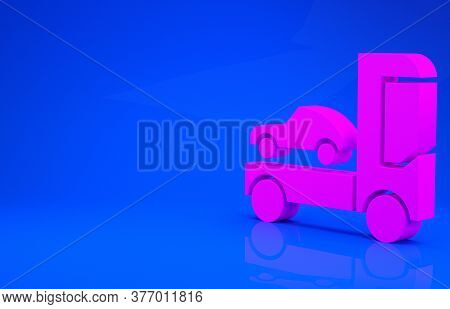 Pink Car Transporter Truck For Transportation Of Car Icon Isolated On Blue Background. Minimalism Co