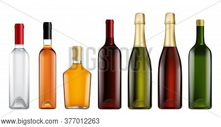 Glass Bottle Mockup Set. Isolated Realistic Blank Alcohol Beverage Bottle Template Icons. Full Brand