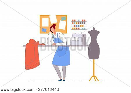 Tailor Shop Business Owner. Isolated Dressmaker Woman Person Working In Sewing Craft Workshop. Tailo