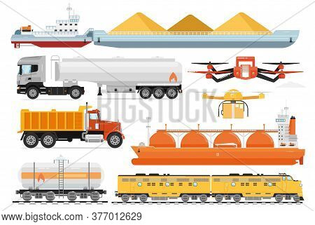 Cargo Transport. Industrial Transportation Shipping Vehicles. Isolated Freight Ship, Tanker Truck, R