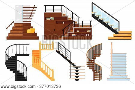Staircase . Interior Wooden Stairs, Store Escalator, Spiral Staircase, Floor To Floor Metal Ladder.