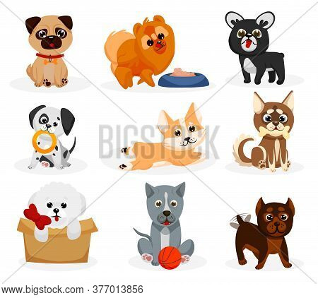 Cute Doggy Set. Isolated Playful Dog Puppies Of Different Breeds Icons. Cute Cartoon Doggy Pet Anima