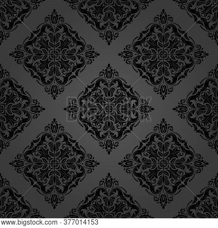 Orient Vector Classic Black Pattern. Seamless Abstract Background With Vintage Elements. Orient Back