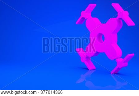 Pink Drone Flying Icon Isolated On Blue Background. Quadrocopter With Video And Photo Camera Symbol.