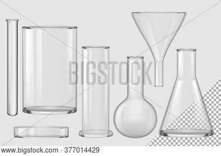 Glass Flask. Isolated Realistic Empty Chemical Filter Funnel, Bulb, Test Tube, Beaker, Petri Dish Co
