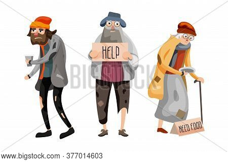 Panhandler Set. Homeless Panhandler People Set Asking For Help And Food Standing With Signboard Isol
