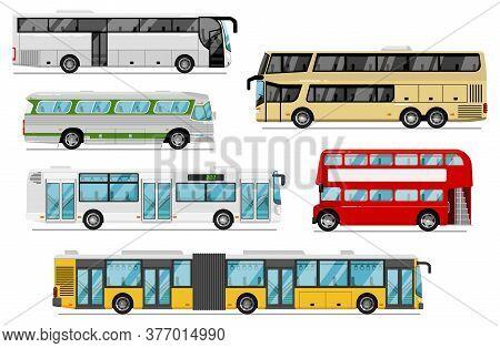 Passenger Bus Set. Isolated Public City, Coach, Tour, Double-decker Bus Transport Icons. Bus Vehicle
