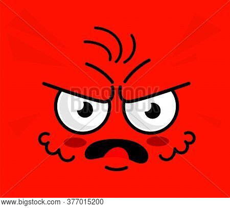 Angry Emoticon. Red Square Angry Face Expression. Emotional Mad Emoticon Cartoon Character Frowning