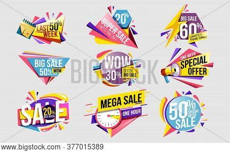 Sale Offer. Discount Sticker And Price Label Set Template. Modern Sale Banner With Special Offer For