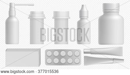 Medicine Bottle. Pharmaceutical White Packaging With Medical Plastic Bottle, Pill Box And Vitamin Co