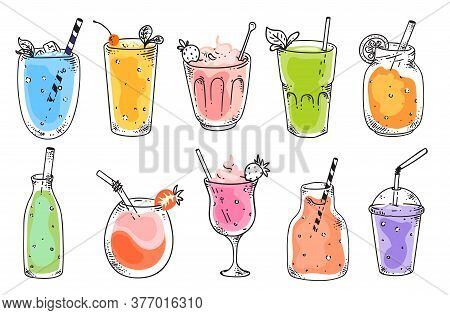 Fruit Smoothie. Natural Vegetarian Fruit Cocktail Refreshments In Glasses. Isolated Vitamin Drink Fo