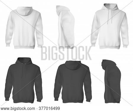Man Hoodie. Black And White Blank Male Sweatshirts With Hood Template Set. Front, Side And Back View