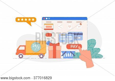 Online Ordering. Website Ordering And Paying Online Store Internet Interface. Round Clock Delivery S