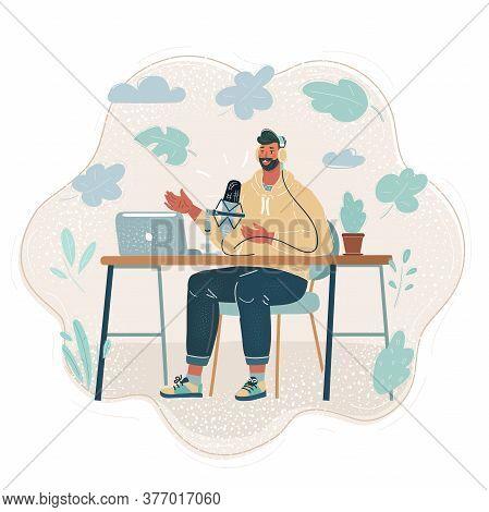 Vector Illustration Of Speaker, Journalist, Man Make Podcast, Broadcasting. Charcter Speak At Microp