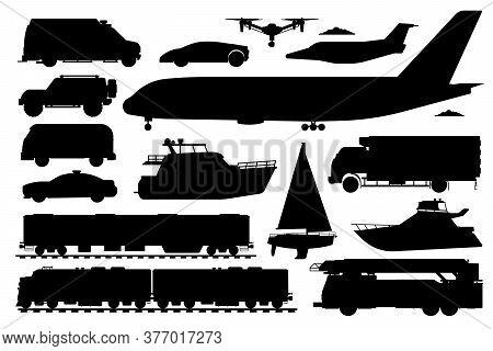 Public Transport Set. Passenger Vehicle Silhouettes. Isolated Public Train, Ambulance, Police Car Au