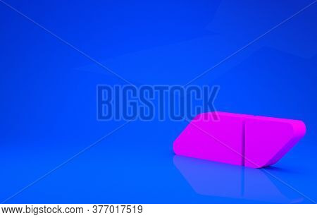 Pink Eraser Or Rubber Icon Isolated On Blue Background. Minimalism Concept. 3d Illustration. 3d Rend