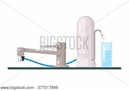 Water Filter. Modern Tap Water Filter Isolated On White Background. Home Filtration And Purification