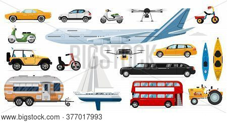 Public Transportation . Passenger Public, Private Transport. Isolated Automobile, Bus, Airplane, Car