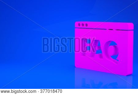 Pink Browser Faq Icon Isolated On Blue Background. Internet Communication Protocol. Minimalism Conce