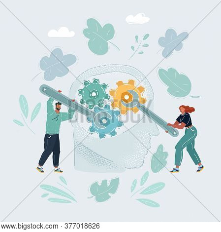 Illustration Of Human Head And Gears Inside. Two People With Wrenches Try To Fix Something Inside. P
