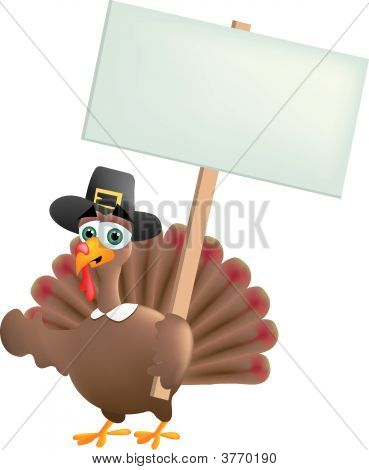 Pilgrim Turkey With A Sign