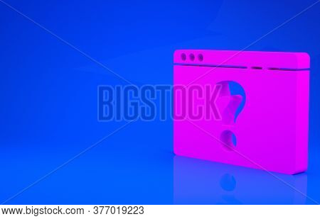 Pink Browser With Question Mark Icon Isolated On Blue Background. Internet Communication Protocol. M