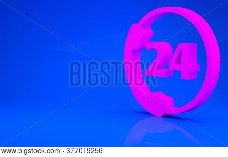 Pink Telephone 24 Hours Support Icon Isolated On Blue Background. All-day Customer Support Call-cent