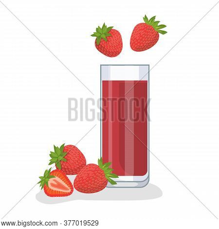 Strawberry Juice In A Glass Glass, Near Strawberries. White Background, Isolate. Vector Illustration