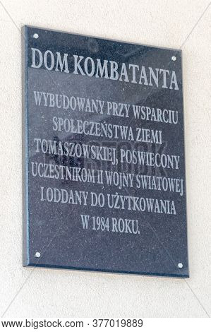 Tomaszow Lubelski, Poland - June 12, 2020: Information About Combatant's House (polish: Dom Kombatan