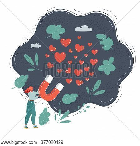 Vector Illustration Of Woman With Big Giant Magnet To Attract Many Hearts. Character On Dark Backgro