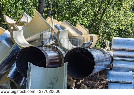 Repair Area Of The Main Pipeline With Heat-insulating Material Close Up
