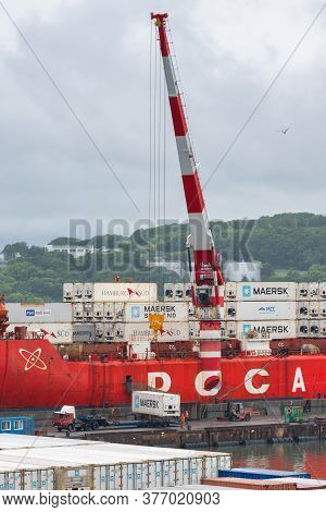 Crane Unloaded Container Cargo Ship Sevmorput Fsue Atomflot - Russian Nuclear-powered Icebreaker Lig