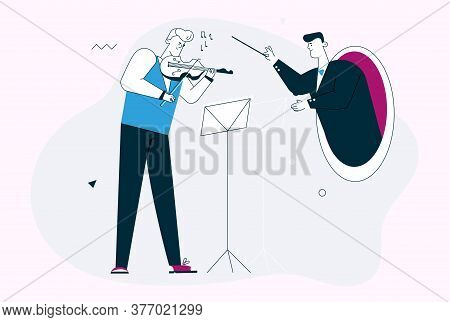 Vector Linear Character Illustration Of Violinist And Conductor Play