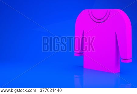 Pink Sweater Icon Isolated On Blue Background. Pullover Icon. Minimalism Concept. 3d Illustration. 3