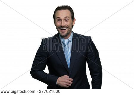 Laughing Businessman Standing In Suit. Laughing Man Isolated On White Background.