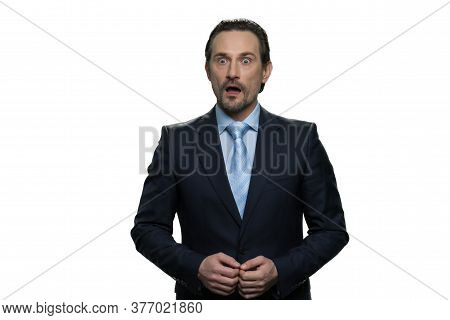 Surprised Well-dressed Businessman. Successful Mature Man Isolated On White Background.