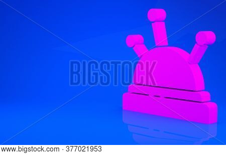 Pink Needle Bed And Needles Icon Isolated On Blue Background. Handmade And Sewing Theme. Minimalism
