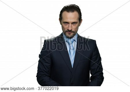 Rich Well-dressed Businessman. Portrait Of Serious Handsome Boss Isolated On White Background.