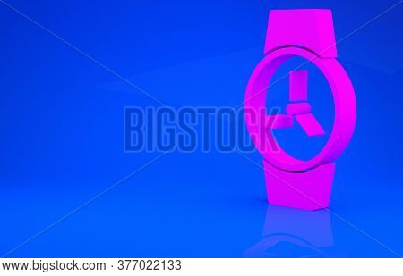 Pink Wrist Watch Icon Isolated On Blue Background. Wristwatch Icon. Minimalism Concept. 3d Illustrat