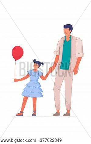 Father Day. Happy Father And Daughter With Balloon Walking Isolated On White Background. Handsome Da