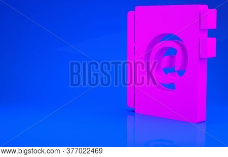 Pink Address Book Icon Isolated On Blue Background. Notebook, Address, Contact, Directory, Phone, Te