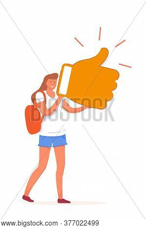 Positive Feedback. Happy Smiling Woman Holding Thumbs-up Sign Giving Positive Feedback Isolated On W